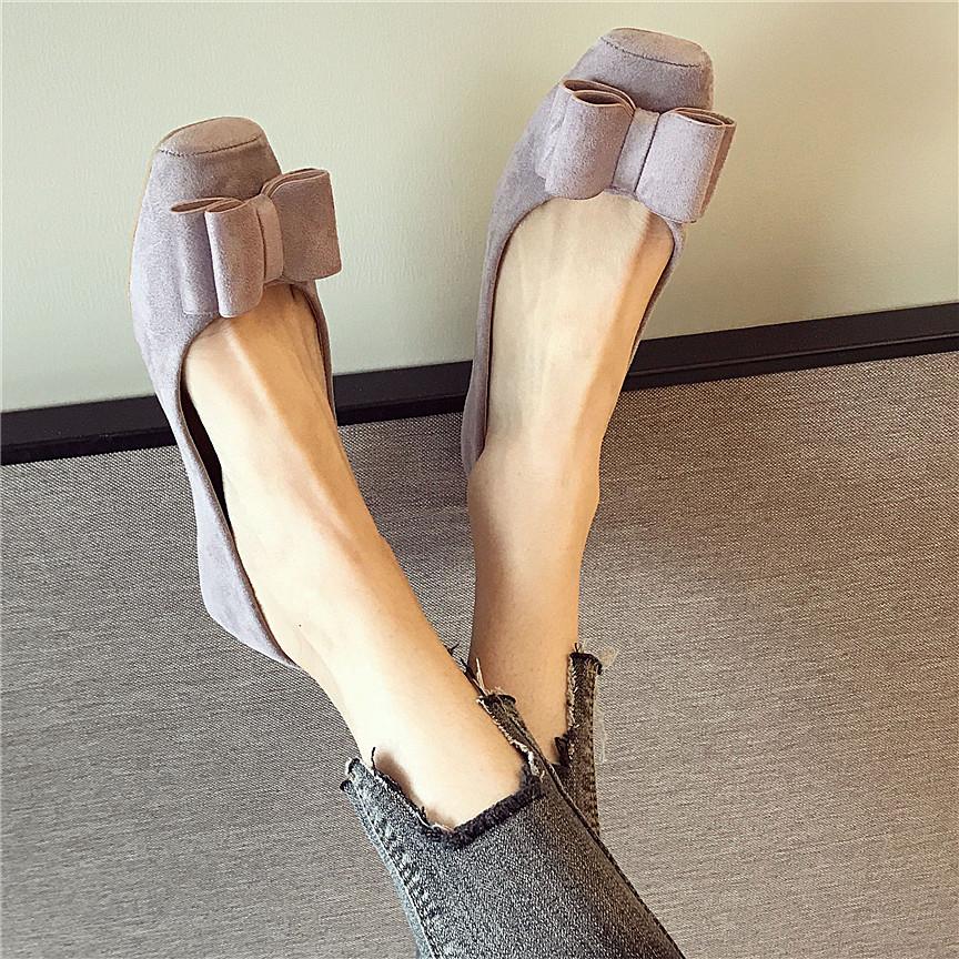 紫色豆豆鞋 春季韩版紫色绒面大码平跟鞋蝴蝶结浅口方头豆豆平底女单鞋工作鞋_推荐淘宝好看的紫色豆豆鞋