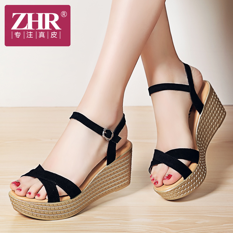 坡跟罗马鞋 ZHR2019夏季新款厚底罗马女鞋平底坡跟凉鞋高跟一字扣带松糕鞋子_推荐淘宝好看的坡跟罗马鞋