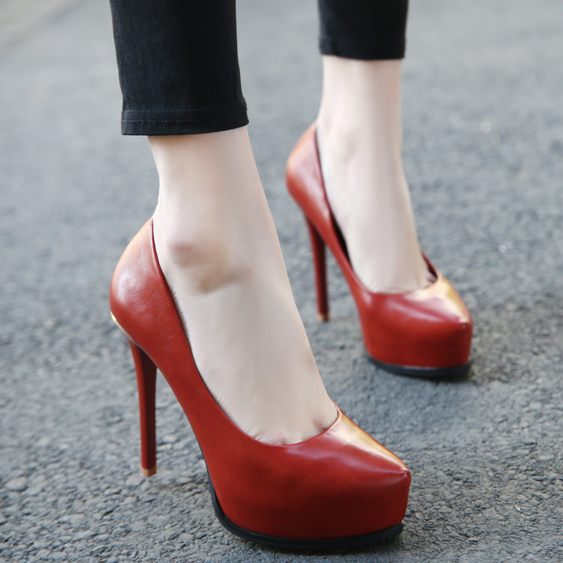 厚底性感高跟鞋 天天特价配晚礼服的鞋子高跟鞋宴会厚底防水台性感砖红色高跟单鞋_推荐淘宝好看的厚底性感高跟鞋