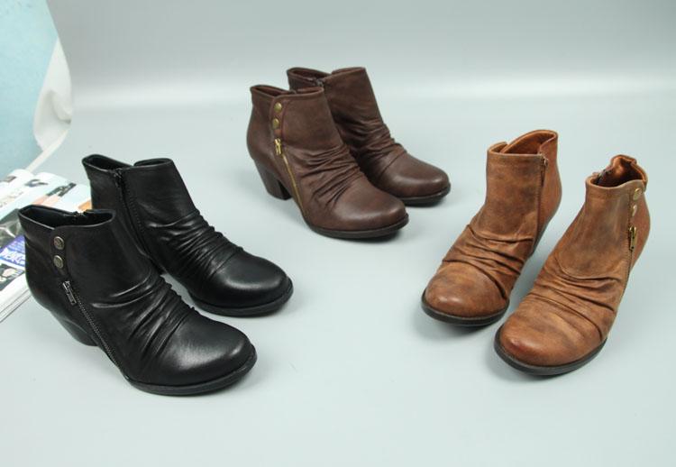 圆头短靴 2017新款粗跟圆头侧拉链拼色特菲提短靴 大码女靴_推荐淘宝好看的女圆头短靴