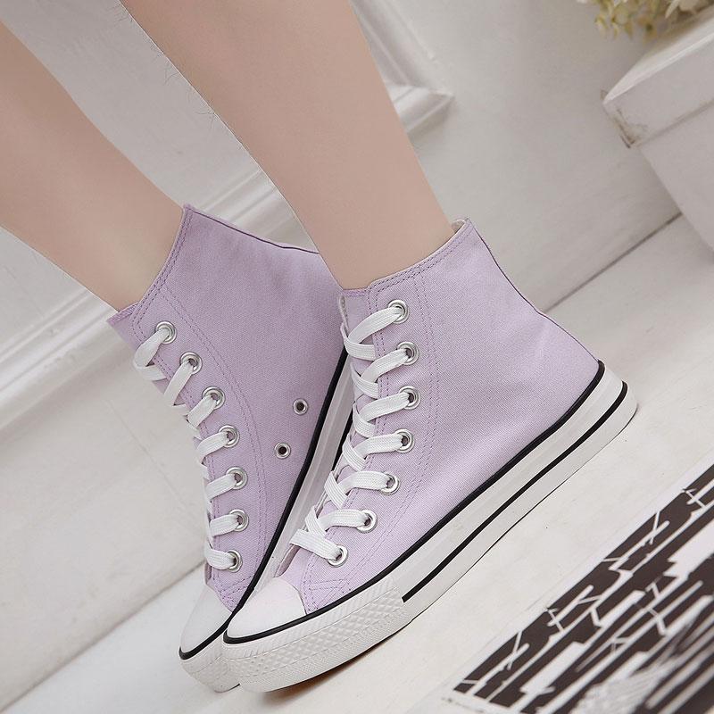 紫色帆布鞋 韩版森女系时尚系带浅紫色帆布鞋女高帮女士休闲鞋舒适平底板鞋潮_推荐淘宝好看的紫色帆布鞋