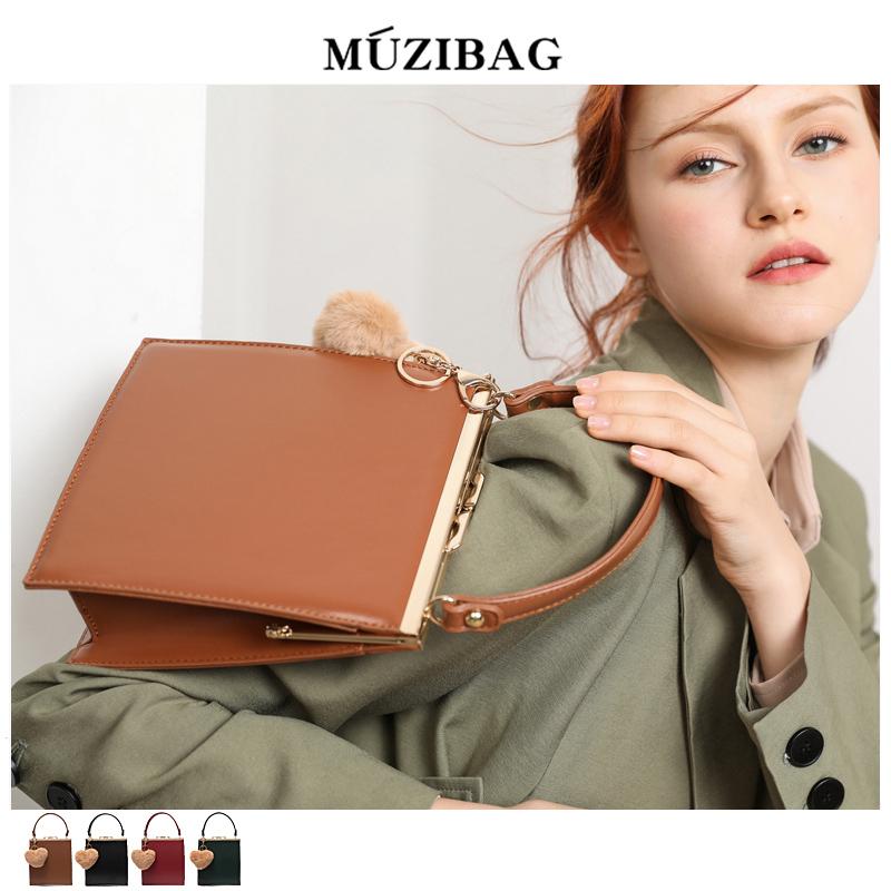 红色手提包 MUZI定制包包女2018冬季新款韩版百搭时尚简约夹子单肩斜跨手提包_推荐淘宝好看的红色手提包