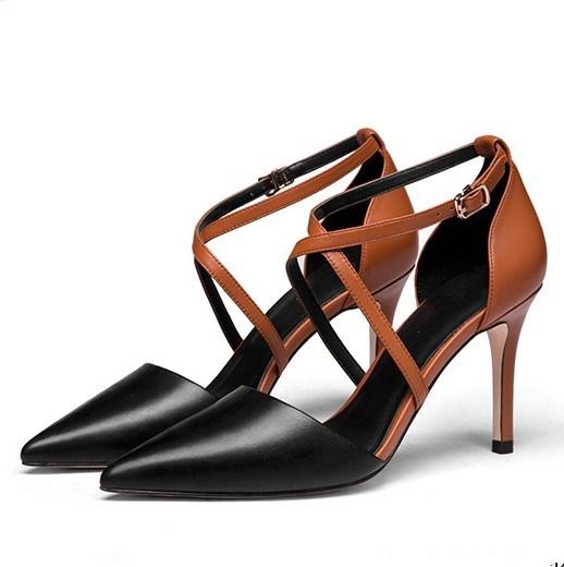 中国高跟鞋 2018新款四季鞋细高跟尖头拼色绑带扣带牛皮凉鞋欧美风小码女鞋_推荐淘宝好看的女高跟鞋