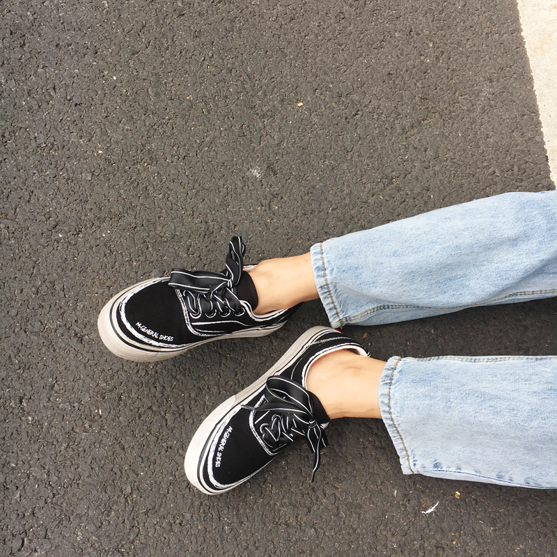 涂鸦帆布鞋 Rabbitstyle 韩版复古街头港味涂鸦做旧小脏鞋休闲帆布鞋学生女秋_推荐淘宝好看的女涂鸦帆布鞋
