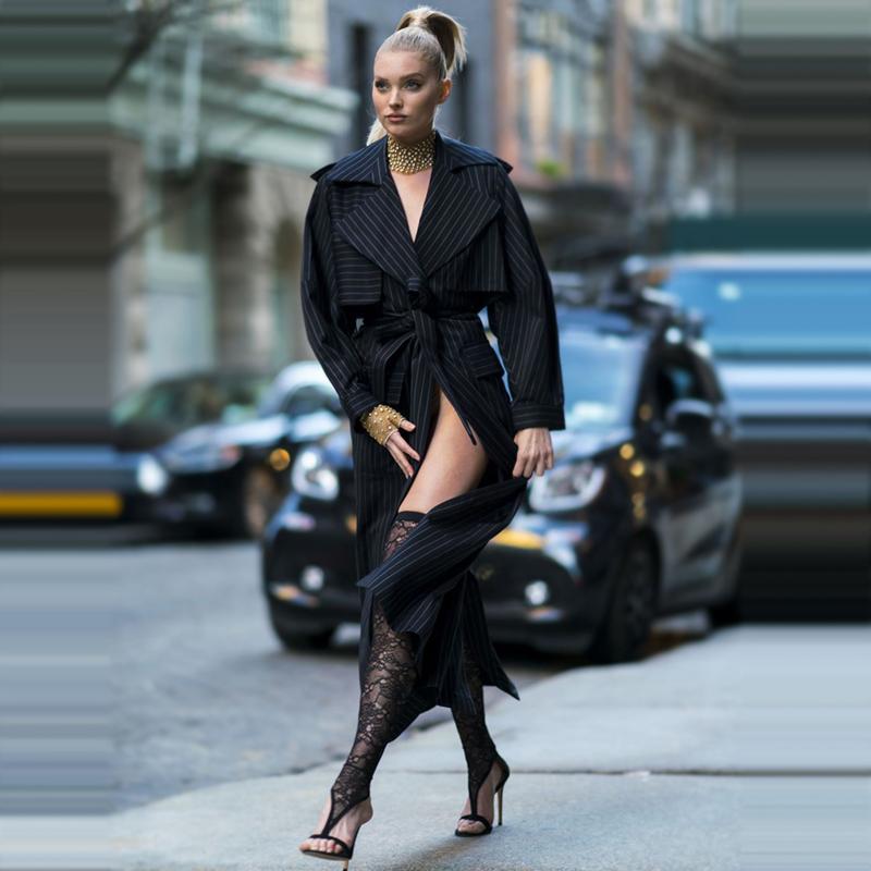 欧美系带风衣 欧美2018年秋季时尚超模走秀新款高端女装修身长款条纹风衣女外套_推荐淘宝好看的欧美系带风衣