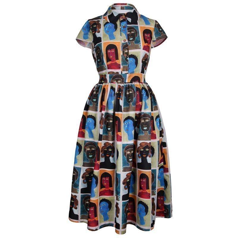 娃娃领短袖连衣裙 披得潘领连衣裙中长款印花复古风短袖衬衣裙娃娃领原创独立设计师_推荐淘宝好看的娃娃领短袖连衣裙
