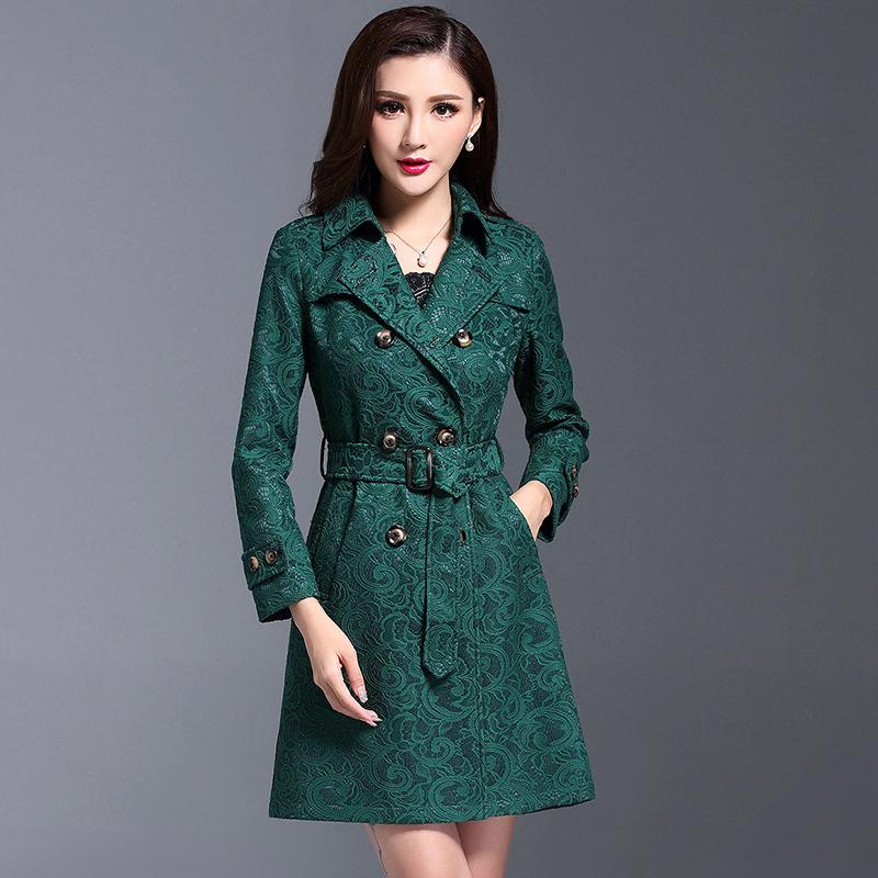 绿色风衣 2018春秋冬中长款风衣 双排扣修身蕾丝加厚大码气质女士外套冬季_推荐淘宝好看的绿色风衣