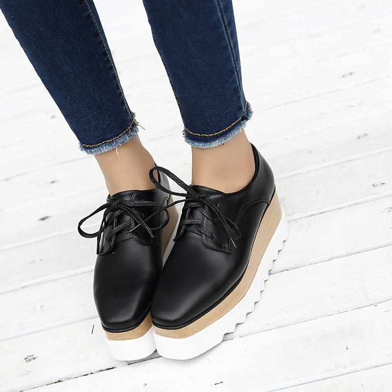 黑色松糕鞋 2017新款春秋松糕鞋女厚底坡跟方头真皮单鞋系带黑色休闲增高白色_推荐淘宝好看的黑色松糕鞋