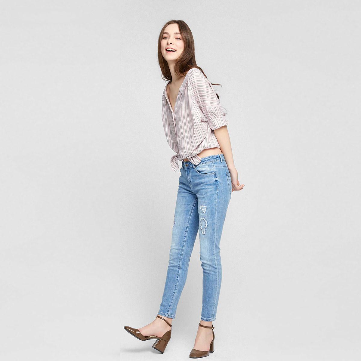 修身破洞牛仔裤 Vero Moda2018年破洞设计棉弹修身九分牛仔裤女装 317149551_推荐淘宝好看的女修身破洞牛仔裤