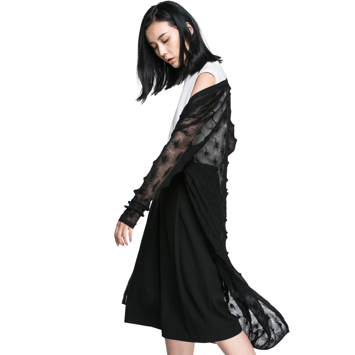 黑色针织衫 SELECTED思莱德镂空钩花宽松针织开衫女G-416324503_推荐淘宝好看的黑色针织衫