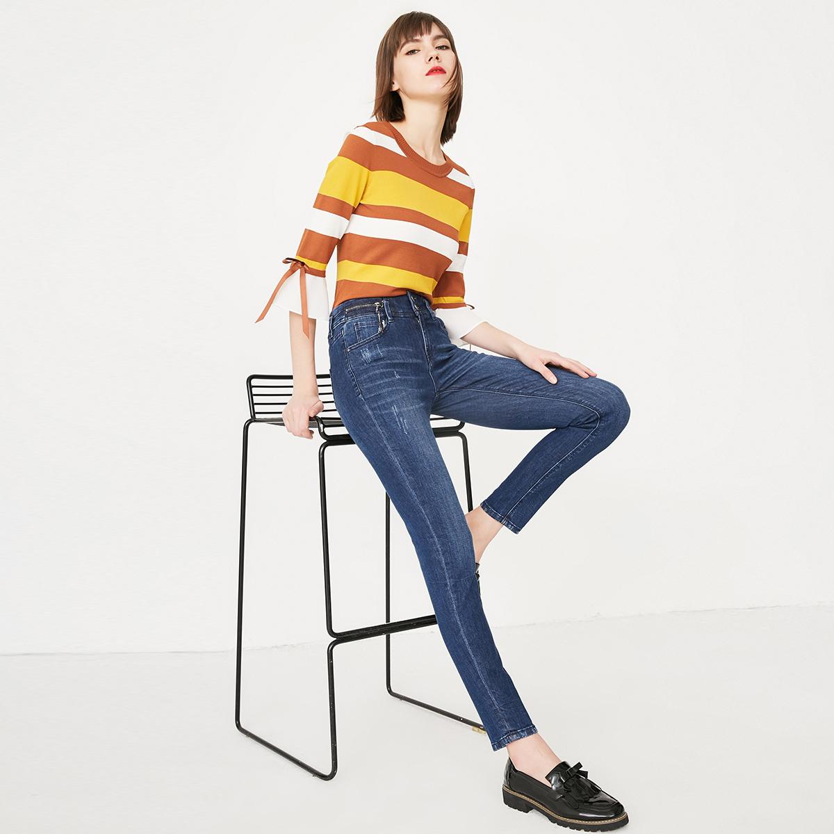 修身破洞牛仔裤 ONLY新款破洞修身显瘦牛仔长裤女 117132532_推荐淘宝好看的女修身破洞牛仔裤