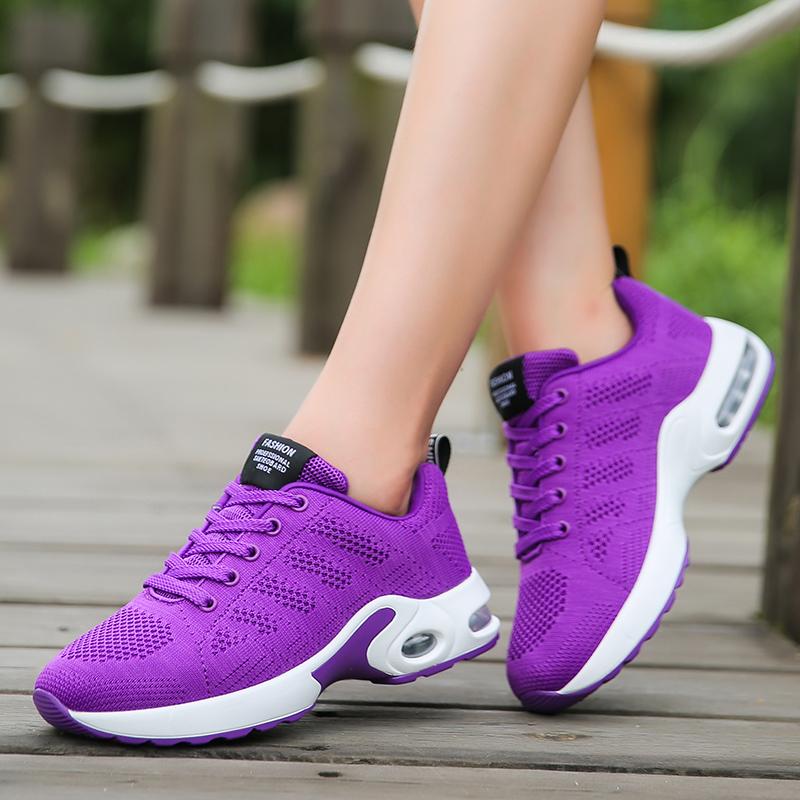 紫色运动鞋 时尚新款BF夏季气垫跑鞋紫色气垫网面飞织运动鞋女减震女跑鞋子潮_推荐淘宝好看的紫色运动鞋