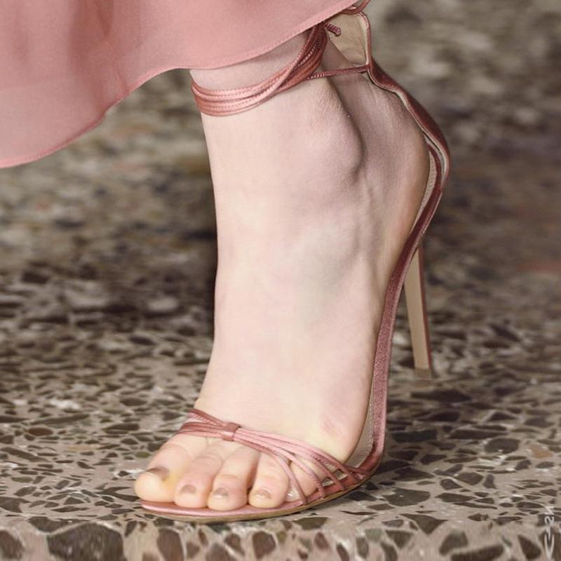 罗马高跟鞋 爬梯女鞋2018春夏新款百搭沙丁布系带罗马单鞋绑带高跟鞋细跟凉鞋_推荐淘宝好看的女罗马高跟鞋