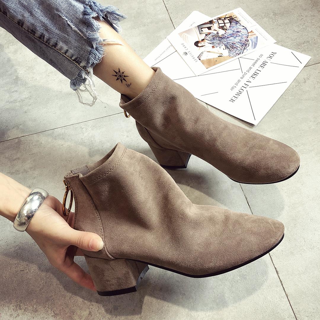 韩版短靴 短靴女秋季2018新款韩版中粗跟百搭女靴后拉链绒面圆头切尔西靴_推荐淘宝好看的女韩版短靴
