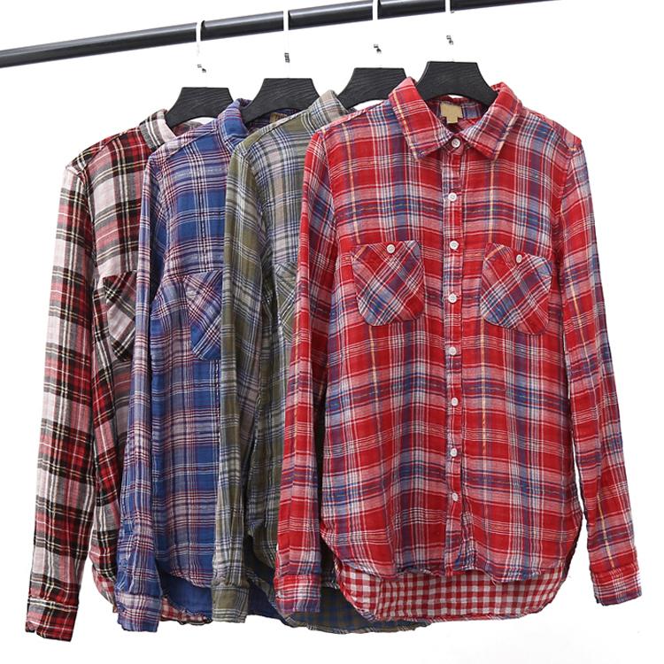 撞色衬衫 38刀 棉纱 撞色金丝BLINGBLING街头学院风格纹长袖衬衫女格子上衣_推荐淘宝好看的女撞色衬衫