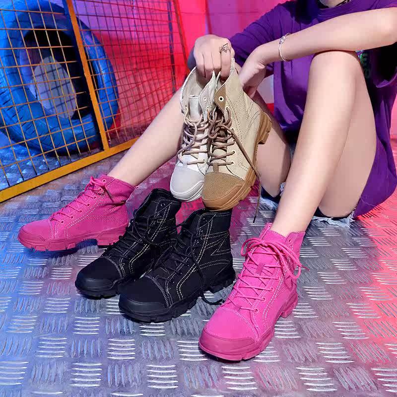 英伦帆布鞋 帆布鞋女2018新款秋系带chic休闲街舞嘻哈英伦马丁学生高帮板鞋潮_推荐淘宝好看的女英伦帆布鞋