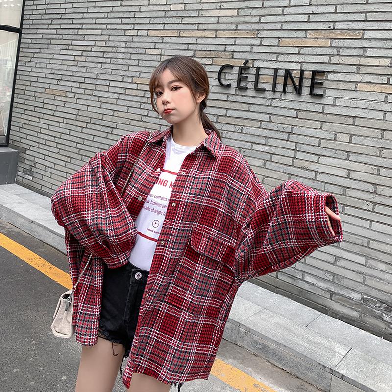 衬衫 2019春季新款韩版chic格子中长款宽松bf翻领单排扣百搭衬衫外套女_推荐淘宝好看的女衬衫