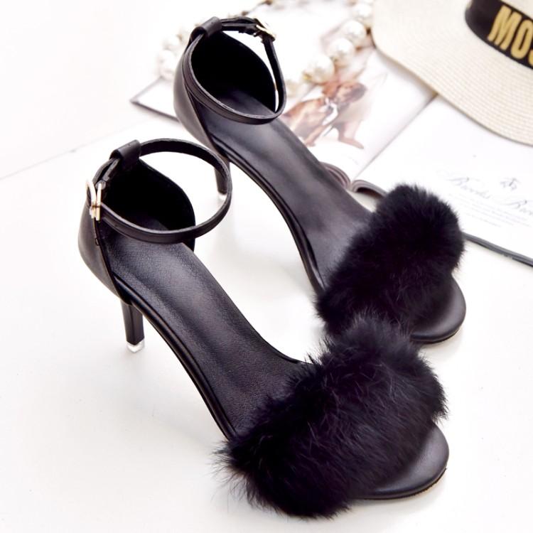 女式高跟凉鞋 韩国秋款兔毛罗马鞋 一字扣简约皮毛一体高跟鞋性感百搭女士凉鞋_推荐淘宝好看的女高跟凉鞋