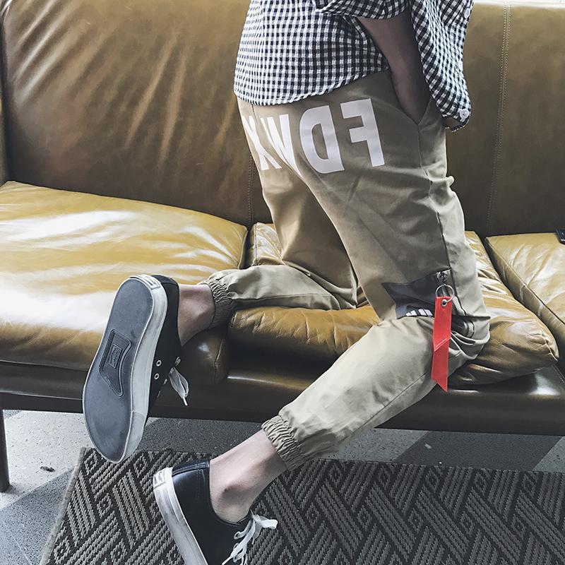 白色休闲裤 街头达人ins超火的裤子韩版潮流2017BF风青少年日系束脚休闲裤男c_推荐淘宝好看的白色休闲裤