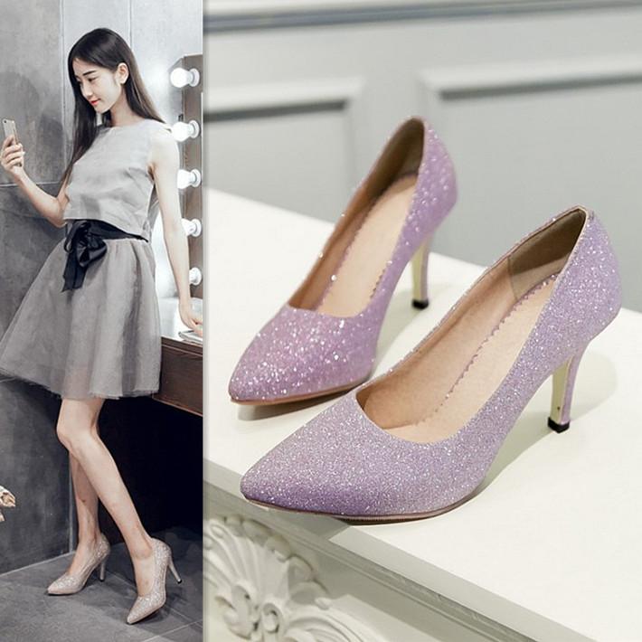 紫色高跟鞋 春秋夏小尖头细跟高跟单鞋女浅口OL优雅浅紫色亮片皮鞋公主伴娘鞋_推荐淘宝好看的紫色高跟鞋