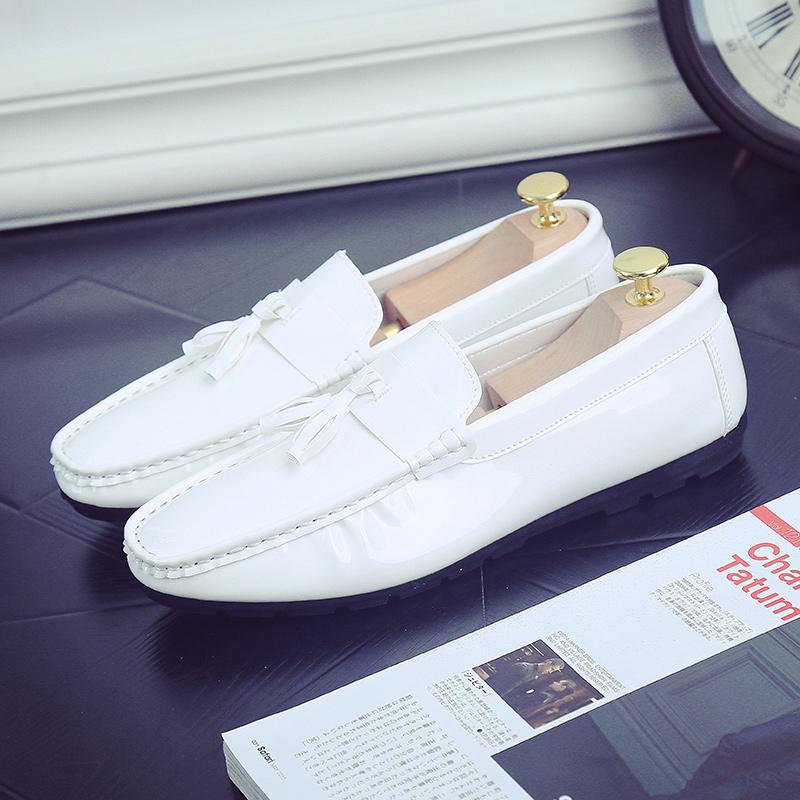 白色豆豆鞋 男款白鞋男生赖人鞋原宿风同款豆豆鞋男个性痘痘小皮鞋白色懒人鞋_推荐淘宝好看的白色豆豆鞋
