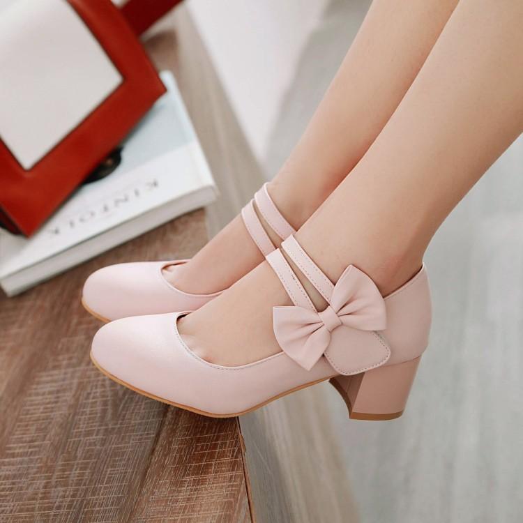 紫色单鞋 米色粉色紫色女鞋春秋款粗跟中跟单鞋韩版大码鞋小码女 31 47 HLE_推荐淘宝好看的紫色单鞋