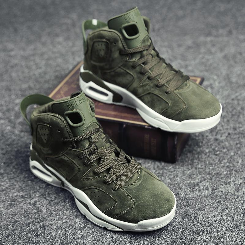 绿色高帮鞋 新款男鞋高帮鞋军绿色运动气垫鞋减震篮球鞋韩版潮流高腰青年鞋子_推荐淘宝好看的绿色高帮鞋