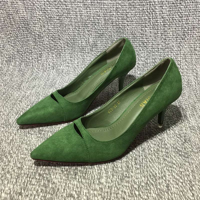 绿色高跟鞋 2017春季新款绿色尖头高跟鞋女细跟绒面性感镂空百搭职业单鞋ol夏_推荐淘宝好看的绿色高跟鞋
