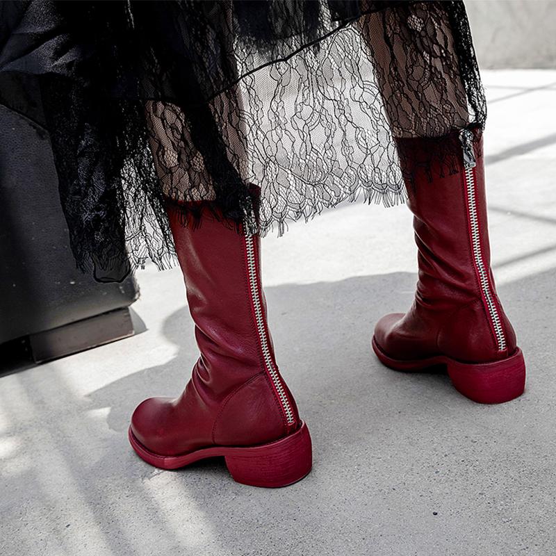 马丁短靴 guidi靴女 788Z真皮后拉链短靴做旧褶皱倒靴复古马丁靴粗跟鬼帝靴_推荐淘宝好看的女马丁短靴