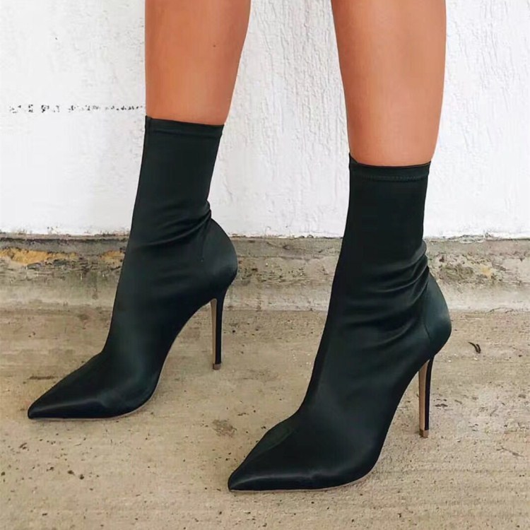 尖头短靴 秋冬尖头细跟女短靴欧美肯豆同款高跟弹力布靴百搭瘦腿中筒袜子靴_推荐淘宝好看的尖头短靴