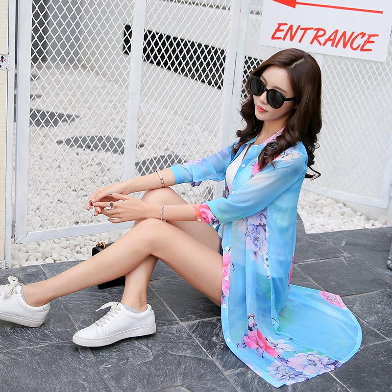 长袖雪纺衫 防紫外线长袖防晒衣女中长款印花雪纺衫大码开衫薄款衬衫外套夏装_推荐淘宝好看的长袖雪纺衫
