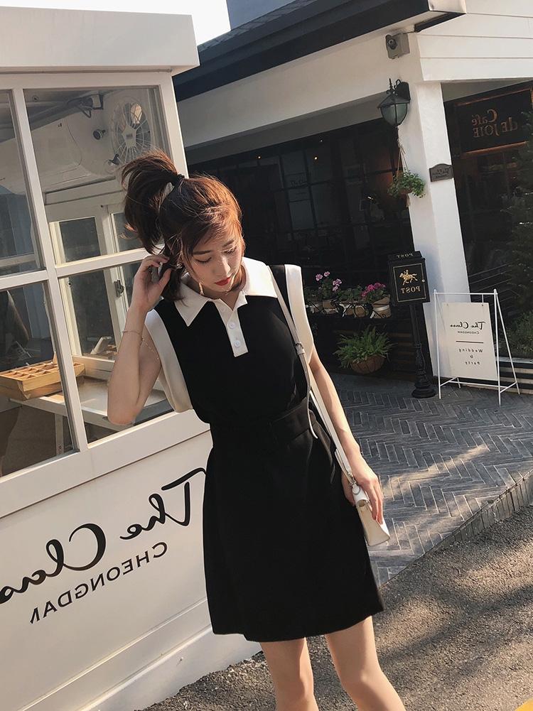 无袖连衣裙 【粉丝福利,拍下49.9】新款韩版Polo领无袖黑色连衣裙短裙女_推荐淘宝好看的无袖连衣裙