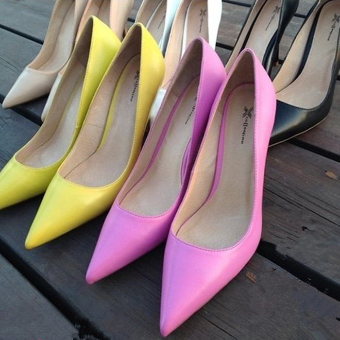 粉红色高跟鞋 2016春新款真皮女鞋黑色工作鞋浅口单鞋粉红色高跟鞋尖头大码婚鞋_推荐淘宝好看的粉红色高跟鞋