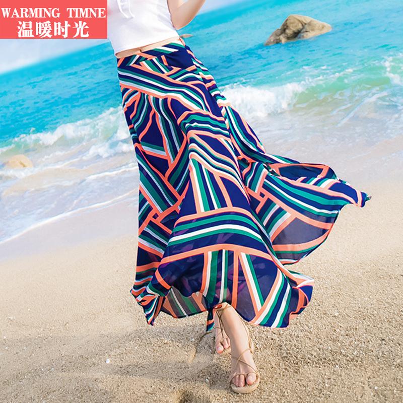 波西米亚半身裙沙滩裙 温暖时光 2018夏新款沙滩半身裙女波西米亚海边度假雪纺半身长裙_推荐淘宝好看的波西米亚半身裙沙滩裙