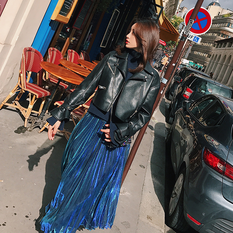 欧美机车皮衣 子晴 黑色机车皮衣女 2017秋装新款欧美时尚宽松短款PU皮夹克外套_推荐淘宝好看的女欧美机车皮衣
