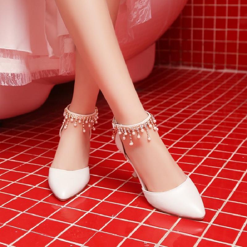 红色凉鞋 新款白色水钻新娘鞋红色尖头高跟单鞋婚鞋一字扣带细跟中跟女凉鞋_推荐淘宝好看的红色凉鞋
