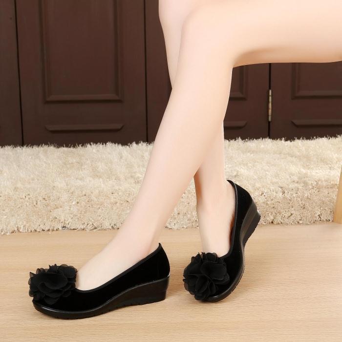 坡跟鱼嘴鞋 老北京布鞋女鞋坡跟高跟单鞋黑色工作鞋花朵鞋孕妇鞋松糕鞋舞蹈鞋_推荐淘宝好看的女坡跟