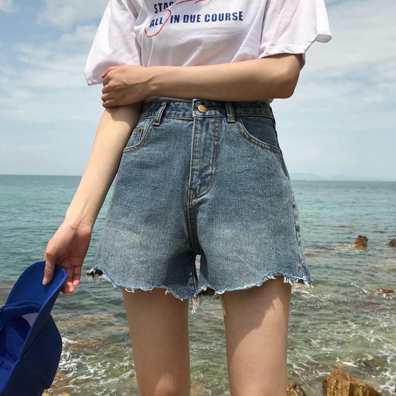 个性女装 夏装女装韩版个性波浪撕边毛边高腰做旧显瘦宽松牛仔裤阔腿裤短裤_推荐淘宝好看的个性女装