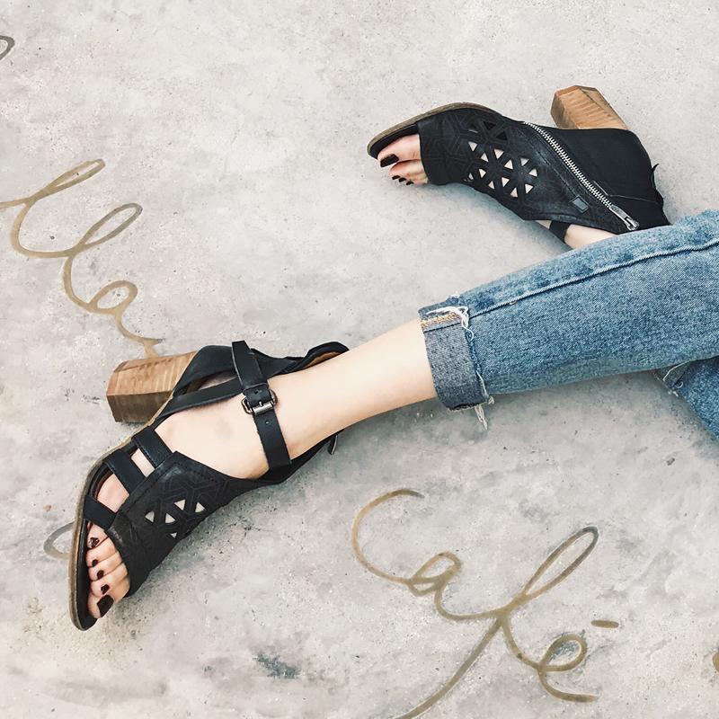 镂空鱼嘴鞋 18夏新款真皮欧美性感复古仿旧镂空露趾高跟粗跟凉鞋女鞋恩妮特_推荐淘宝好看的女镂空鱼嘴鞋