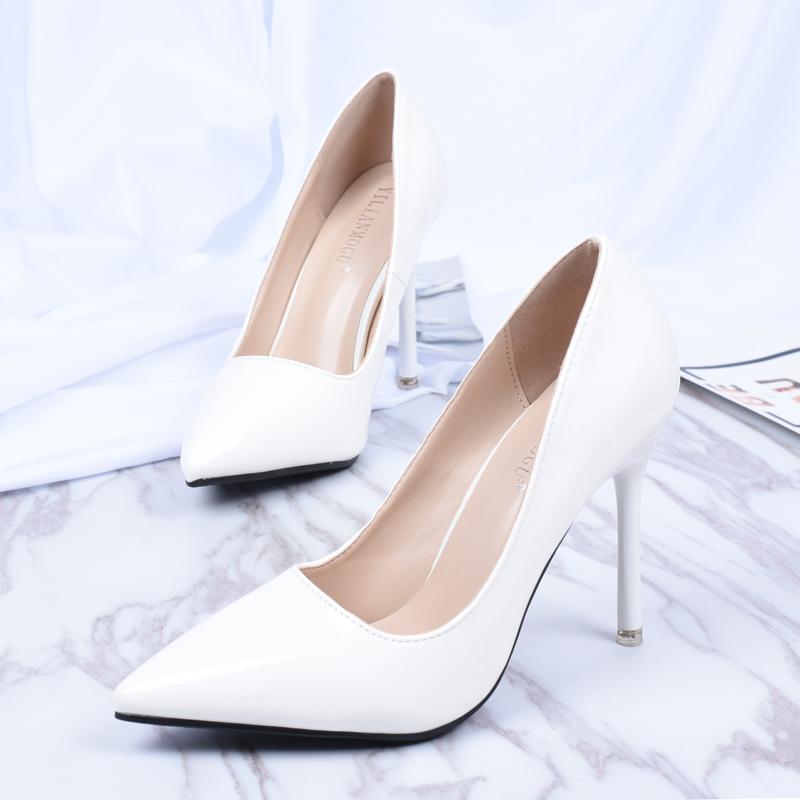 细高跟鞋 白色高跟鞋女细跟气质优雅尖头2019新款法式少女超烫百搭网红单鞋_推荐淘宝好看的女细高跟鞋