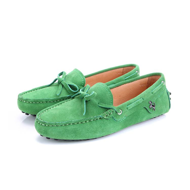 绿色豆豆鞋 平底大码豆豆鞋女真皮磨砂浅口圆头软底单鞋绿色休闲孕妇41-43_推荐淘宝好看的绿色豆豆鞋