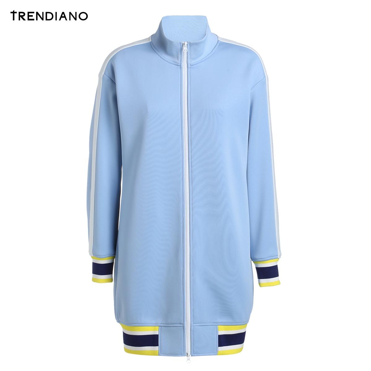 长款卫衣 TRENDIANO女装春装运动风条纹高领长款卫衣外套C1040630_推荐淘宝好看的女长款卫衣