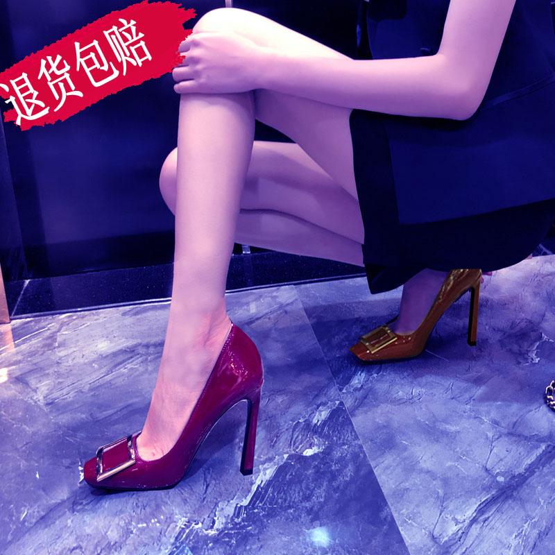 细高跟鞋 10厘米超高跟鞋女细跟真皮方头女单鞋rv韩版方扣网红职业ol浅口鞋_推荐淘宝好看的女细高跟鞋