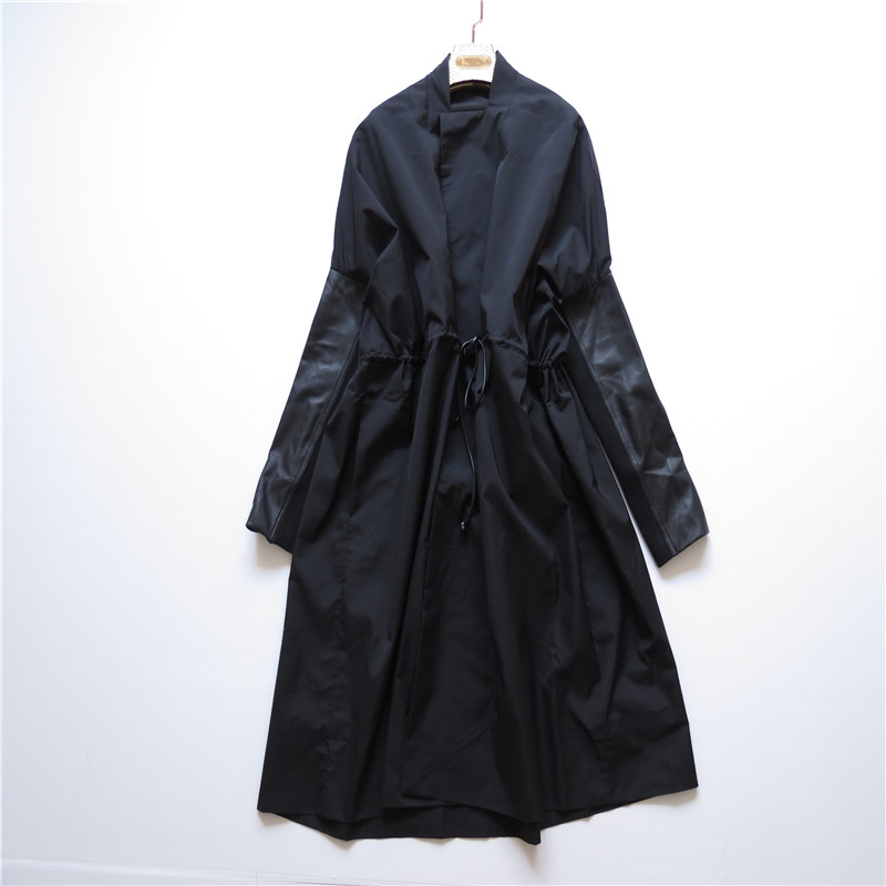 黑色风衣 美国货~~~ 黑色中长款风衣 抽带 袖有羊皮拼接_推荐淘宝好看的黑色风衣