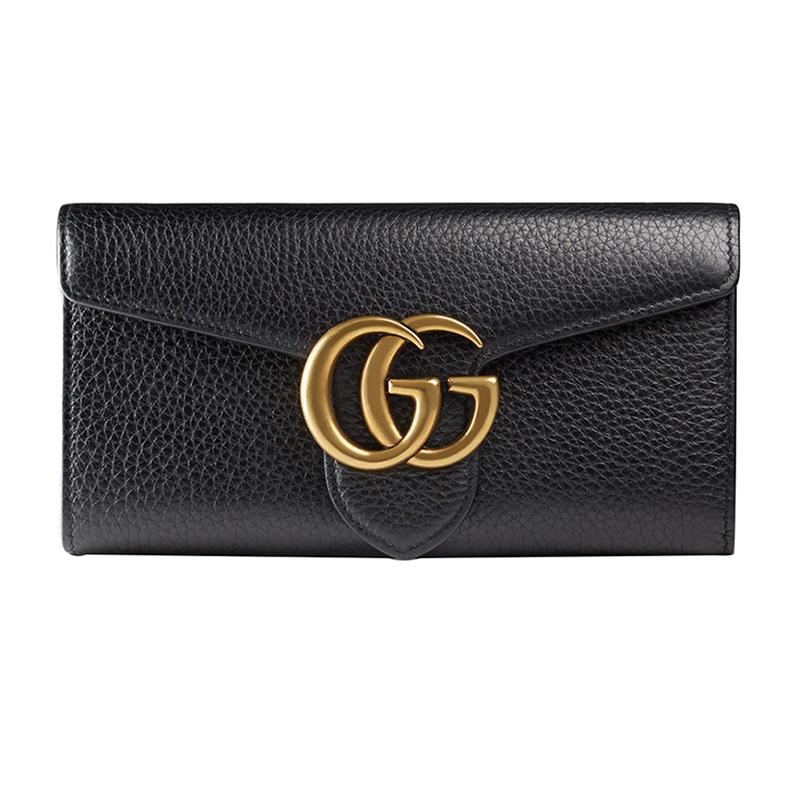 古驰钱包 Gucci 古奇 女士黑色牛皮双G扣翻盖手拿长款钱包 400586 A7M0T_推荐淘宝好看的女古驰钱包