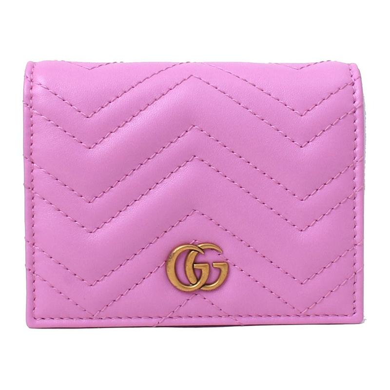古驰钱包 Gucci古奇18年新款 女士粉紫紅牛皮G Marmont小钱包 443125_推荐淘宝好看的女古驰钱包