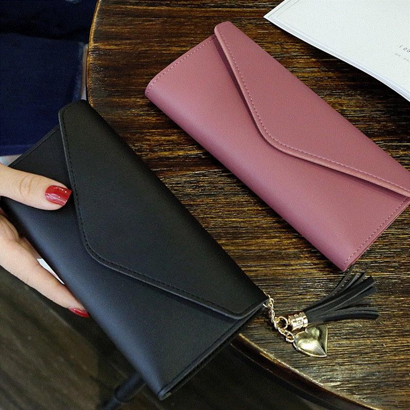 黑色钱包 女士钱包 2018新款 wallet ladies Carteira purse women 零钱包_推荐淘宝好看的黑色钱包