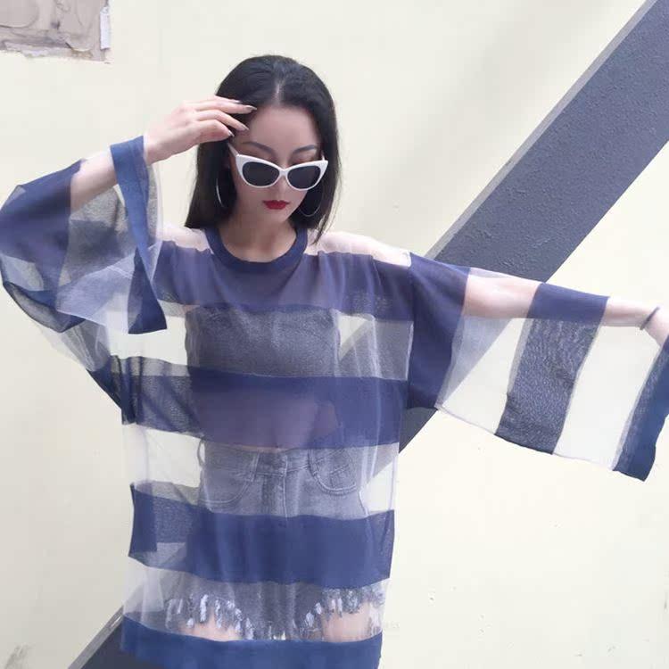 黑色针织衫 2018春季新款港味条纹显瘦大宽松袖透明防晒针织衫女网衫外穿百搭_推荐淘宝好看的黑色针织衫