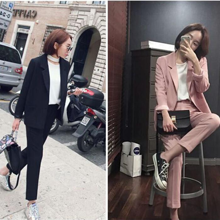 粉红色小西装 时尚黑色西服套装女韩国简约显瘦一粒扣小西装外套九分裤两件套潮_推荐淘宝好看的粉红色小西装