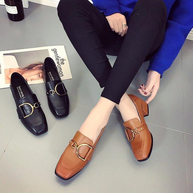 时尚单鞋 2018春季新款时尚单鞋乐福鞋女鞋小皮鞋粗跟英伦风韩版高跟女士鞋_推荐淘宝好看的女时尚单鞋